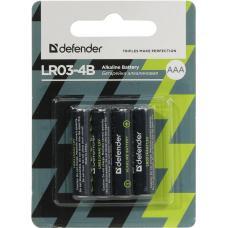 Батарейка алкалиновая LR03-4B AAA, в блистере 4 шт DEFENDER