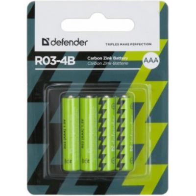 Батарейка солевая R03-4B AAA, в блистере 4 шт DEFENDER
