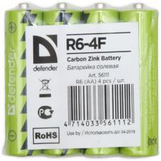 Батарейка солевая R6-4F AA, в пленке 4 шт DEFENDER