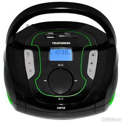 Аудиомагнитола Telefunken TF-SRP3471B, черный/зеленый