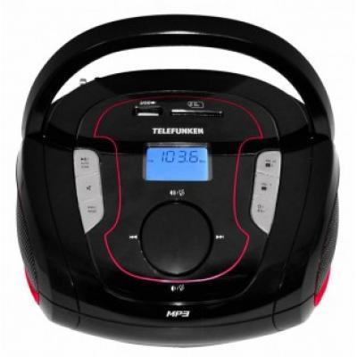 Аудиомагнитола Telefunken TF-SRP3471B, черный/красный